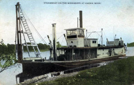 Steamboat on the Mississippi River at Anoka Minnesota, 1909