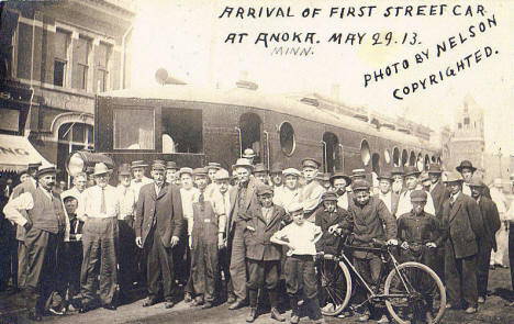 Arrival of first street car at Anoka, May 29th, 1913