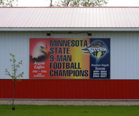 State Football Champions sign on building, Argyle Minnesota, 2008