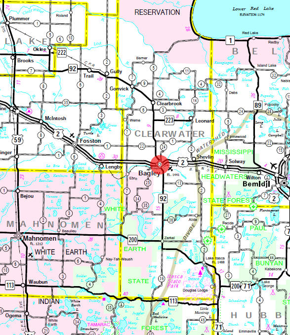 Minnesota State Highway Map of the Bagley Minnesota area