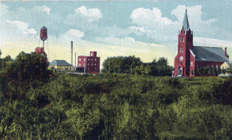 St. Mary's Catholic Church and view of Barnesville, 1914