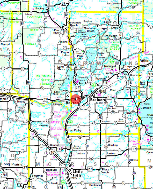 Minnesota State Highway Map of the Baxter Minnesota area