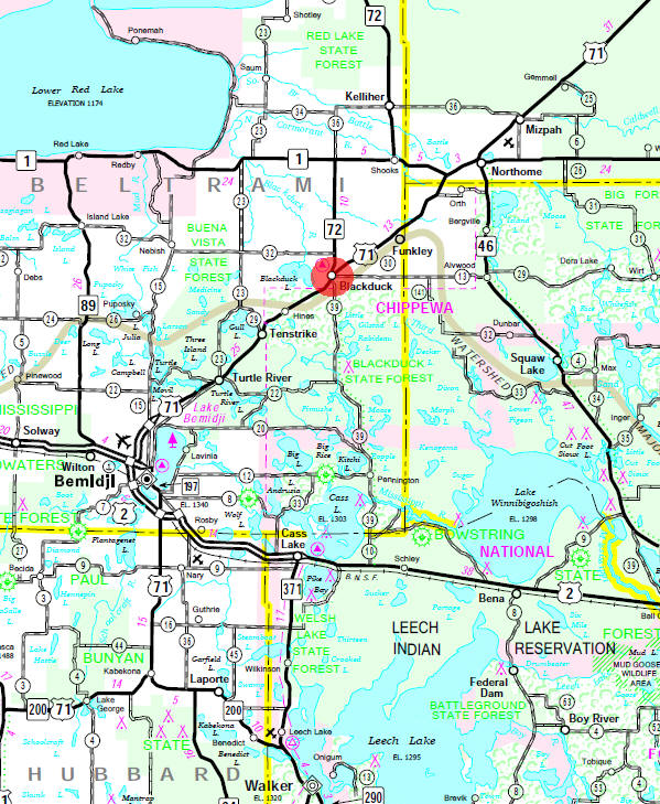 Minnesota State Highway Map of the Blackduck Minnesota area