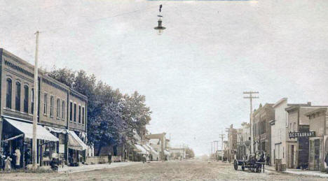 Main Street looking east, Blooming Prairie Minnesota, 1900's