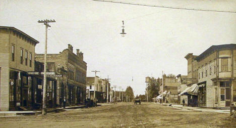 Main Street looking west, Blooming Prairie Minnesota, 1900's