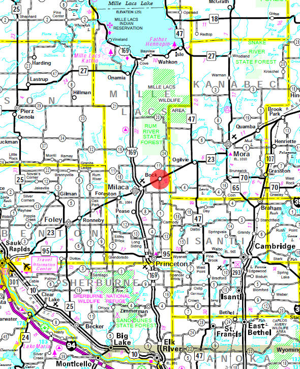 Minnesota State Highway Map of the Bock Minnesota area