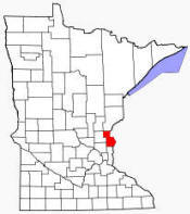 Location of Chisago County Minnesota