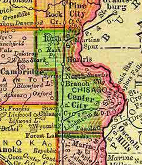 1895 Map of Chisago County Minnesota