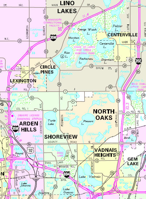 Minnesota State Highway Map of the Circle Pines Minnesota area