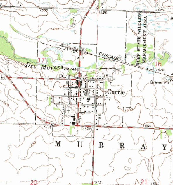 Topographic map of the Currie Minnesota area