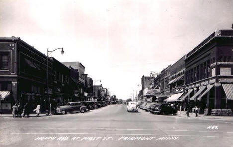 North Avenue at First Street, Fairmont Minnesota, 1940's
