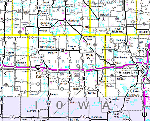 Minnesota State Highway Map of the Faribault County Minnesota area