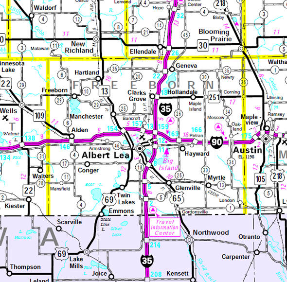 Minnesota State Highway Map of the Freeborn County Minnesota area