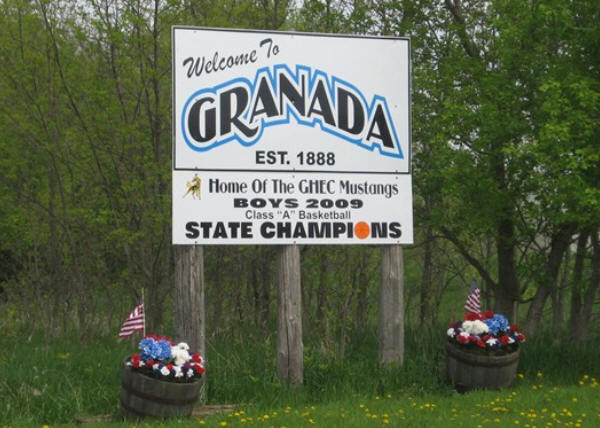 Granada Minnesota welcome sign