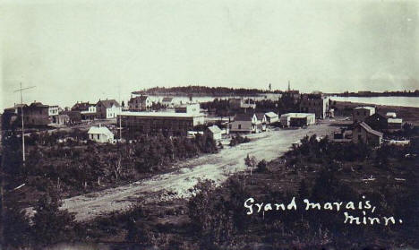 Birds eye view, Grand Marais Minnesota, 1910's