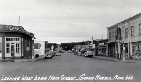 Looking west down Main Street in Grand Marais, 1950's