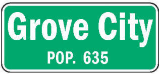 Grove City Minnesota population sign