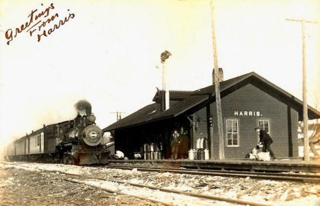 Railroad Depot, Harris Minnesota, 1910's?