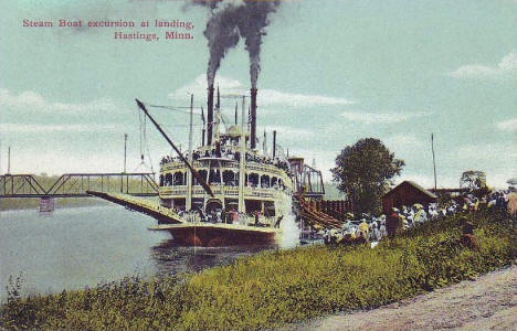Steam Boat Excursion at Landing, Hastings Minnesota, 1910's