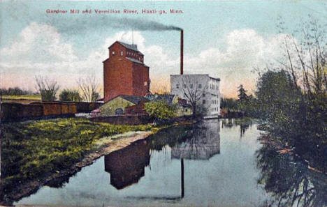 Gardner Mill and Vermillion River, Hastings Minnesota, 1909