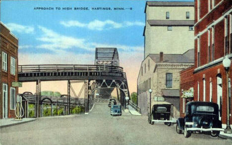 Approach to High Bridge, Hastings Minnesota, 1940's