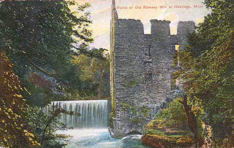 Ruins of Old Ramsey Mill, Hastings Minnesota, 1912