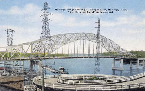 Old and New River Bridges, Hastings Minnesota, early 1950's