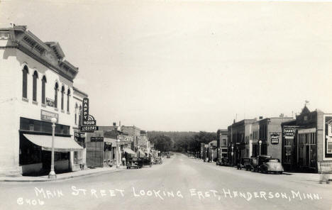 Main Street looking east, Henderson Minnesota, 1940's