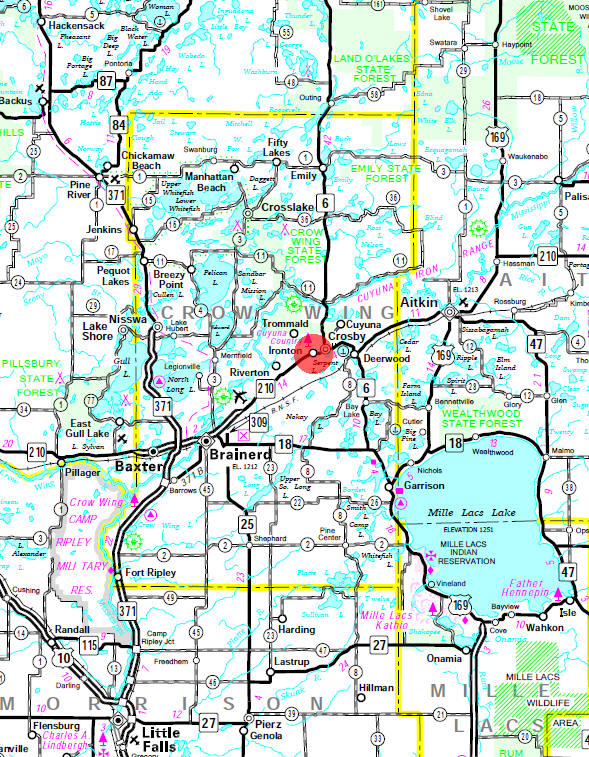 Minnesota State Highway Map of the Ironton Minnesota area