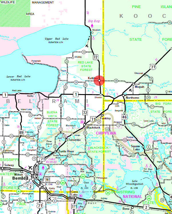 Minnesota State Highway Map of the Kelliher Minnesota area
