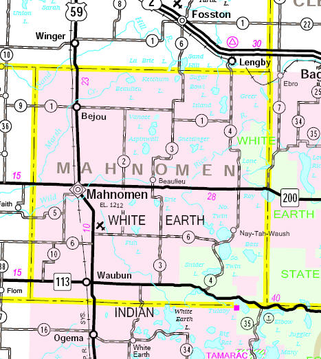 Minnesota State Highway Map of the Mahnomen County area