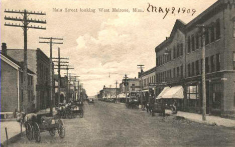 Main Street looking west, Melrose Minnesota, 1909