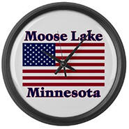 Moose Lake US Flag Large Wall Clock