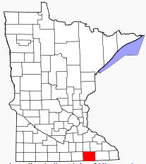 Location of Mower County Minnesota