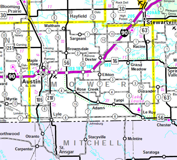 Minnesota State Highway Map of the Mower County Minnesota area