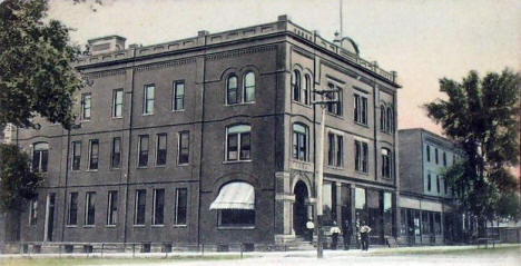 Heins Block and Grand Central Hotel, Olivia Minnesota, 1910's