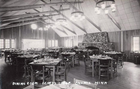 Dining room, Izaty's Lodge, Onamia Minnesota, 1940's