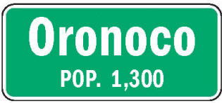 Oronoco Minnesota population sign