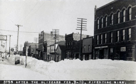 Downtown after a blizzard, Pipestone Minnesota, February 1909