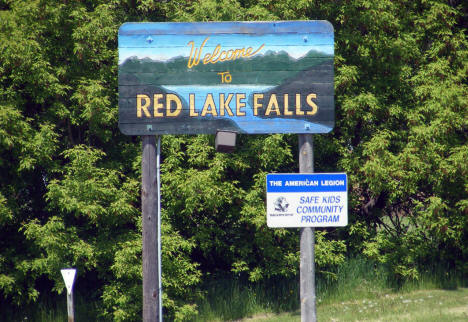 Red Lake Falls welcome sign, Red Lake Falls Minnesota, 2008