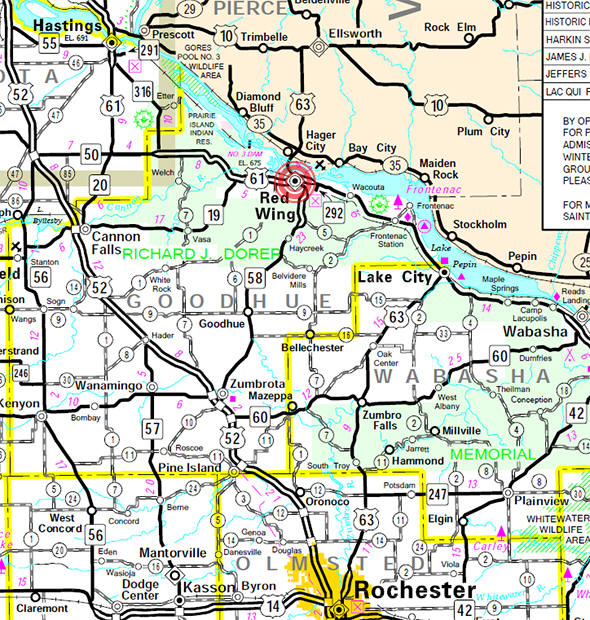 Minnesota State Highway Map of the Red Wing Minnesota area