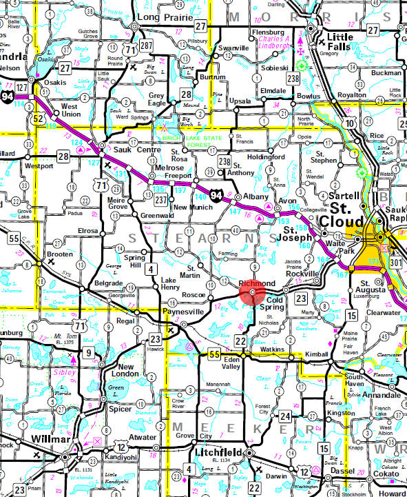 Minnesota State Highway Map of the Richmond Minnesota area