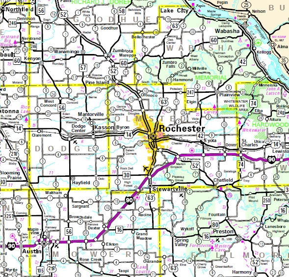 Minnesota State Highway Map of the Rochester Minnesota area