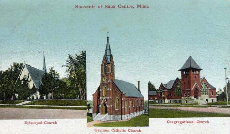 Episcopal, German Catholic and Congregational Churches, Sauk Centre Minnesota, 1909
