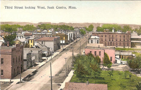 Third Street looking West, Sauk Centre Minnesota, 1910