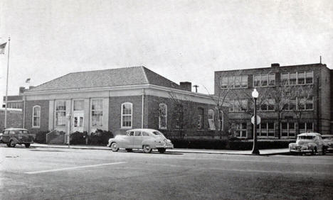Post Office and High School, Sauk Centre Minnesota, 1940's