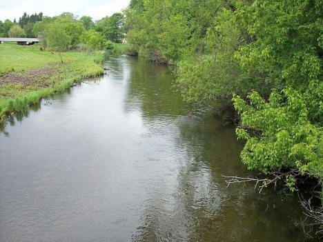 The Redeye River as viewed upstream from a pedestrian bridge in a park in Sebeka, Minnesota, 2007