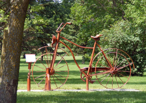 Bicycle sculpture in City Park, Sebeka Minnesota, 2007