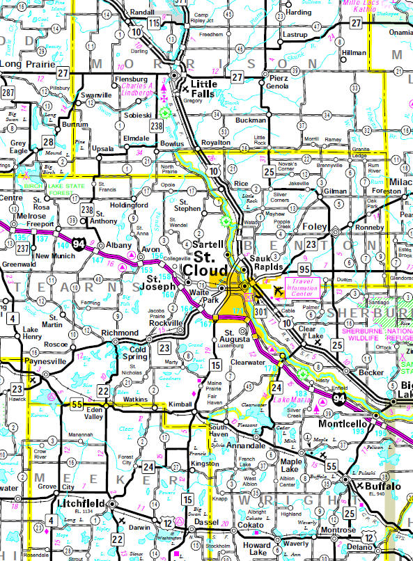 Minnesota State Highway Map of the St. Cloud Minnesota area