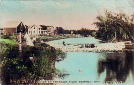 View on Tamarack River at Stephen Minnesota, 1900's